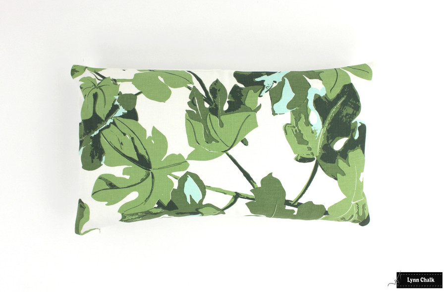 ON SALE Peter Dunham Fig Leaf Pillow Original on White with White Linen Back (12 X 20)