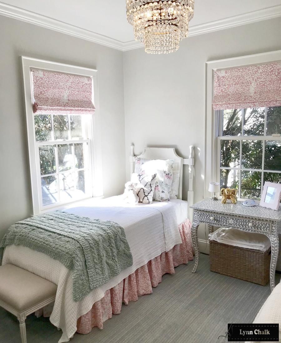 Quadrille Arbre De Matisse Reverse Soft Pink on White 2035N-SPINK Roman Shade