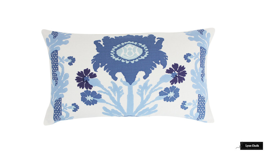 Quadrille Henriot Floral Multi Blues Pillow 14 X 24