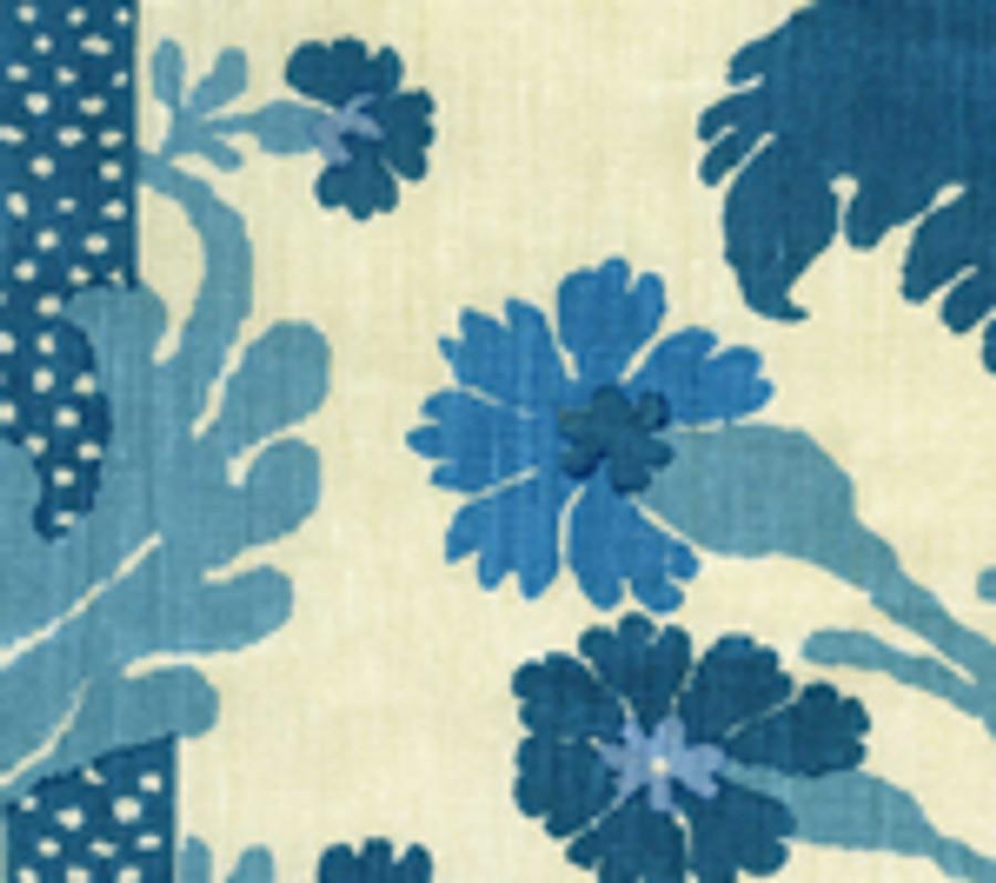 Quadrille Henriot Floral Turquoise on Ecru 302042F CU
