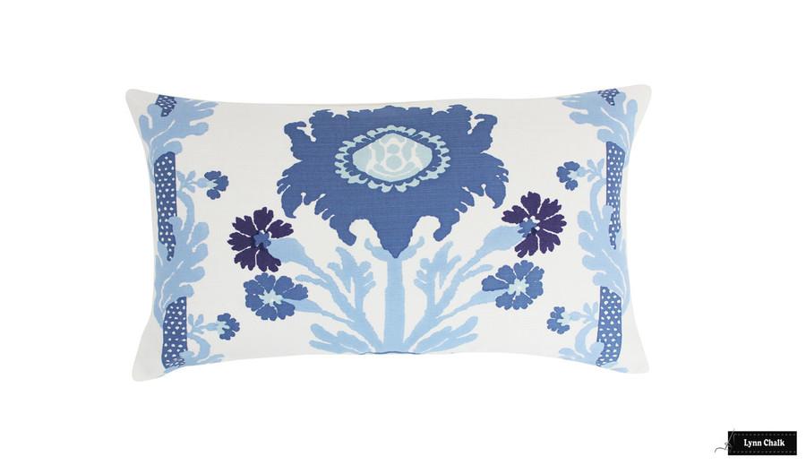 Quadrille Henriot Floral Multi Blues Pillow 14 X 24