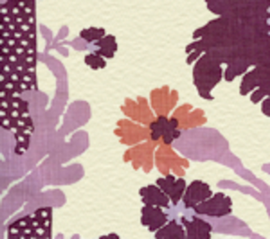 Quadrille Henriot Floral Lilacs on Ecru 302043F CU