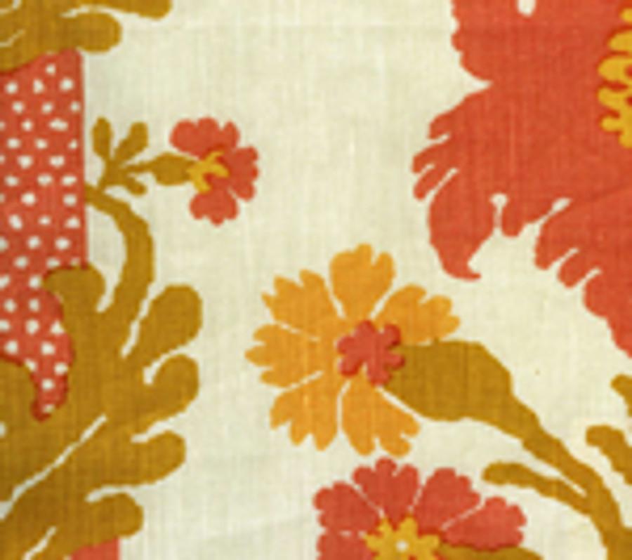 Quadrille Henriot Floral Peach Gold on Ecru 302044F CU