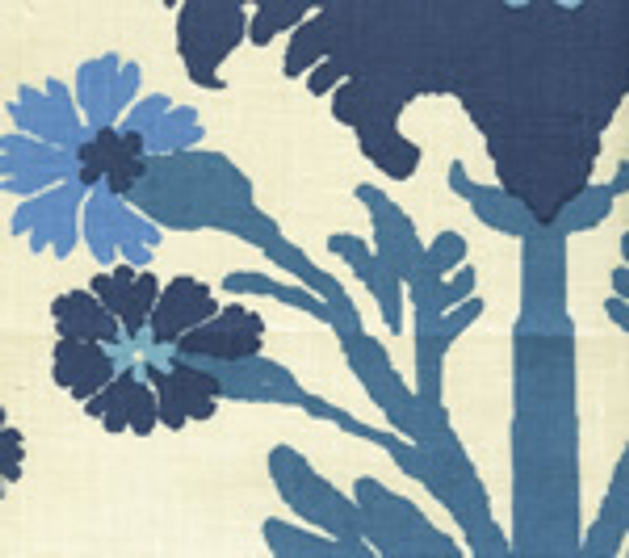 Quadrille Henriot Floral Blue French Green on Linen 302041F CU