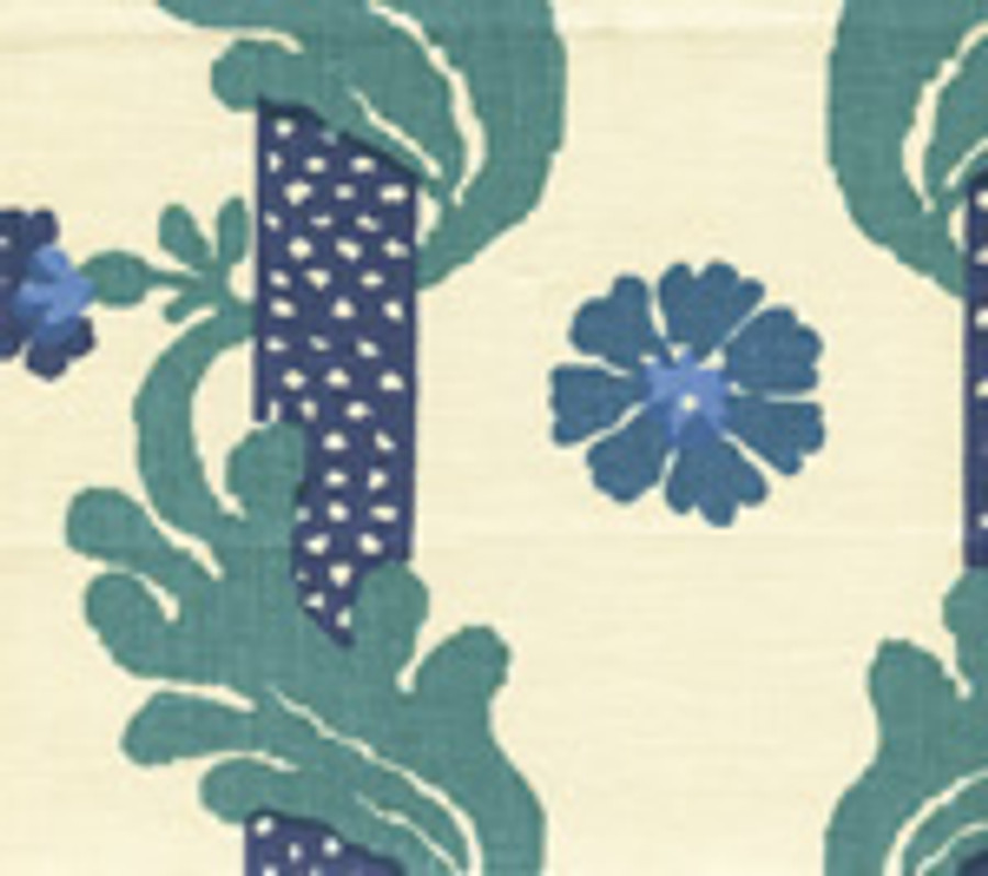 Quadrille Henriot Floral Blues/Greens on Linen 302031F CU