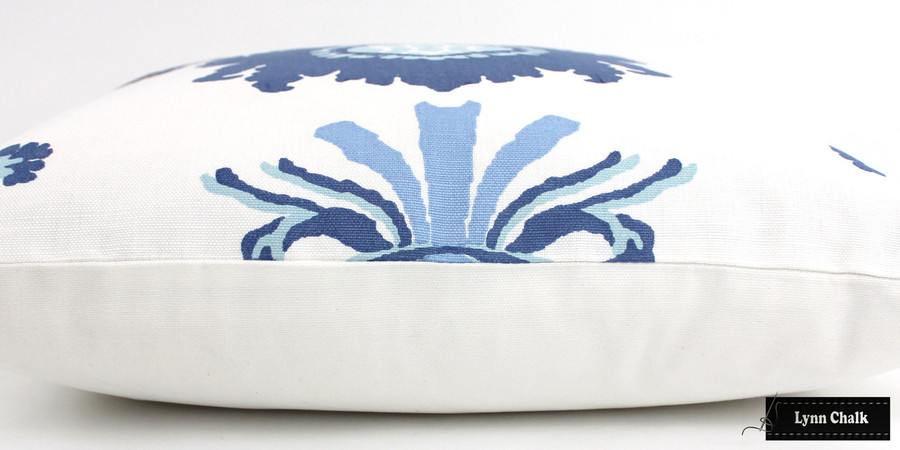 On Sale 50% Off-Quadrille Henriot Floral Pillows in Multi Blues on White (Front Only -14 X 24)