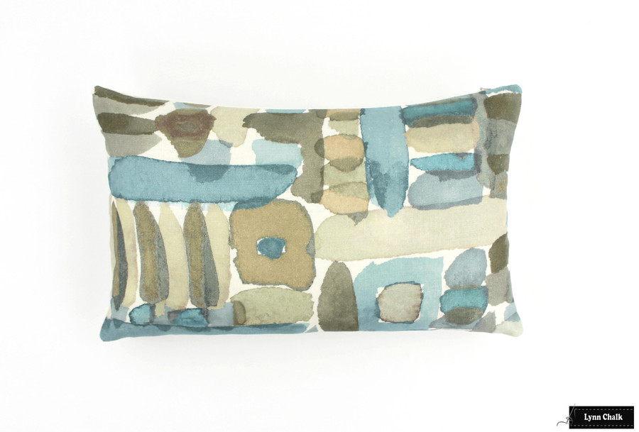ON SALE 60% Off Groundworks Moriyama Pillow in Dusk with Natural Linen Back (Front Only-12 X 20)