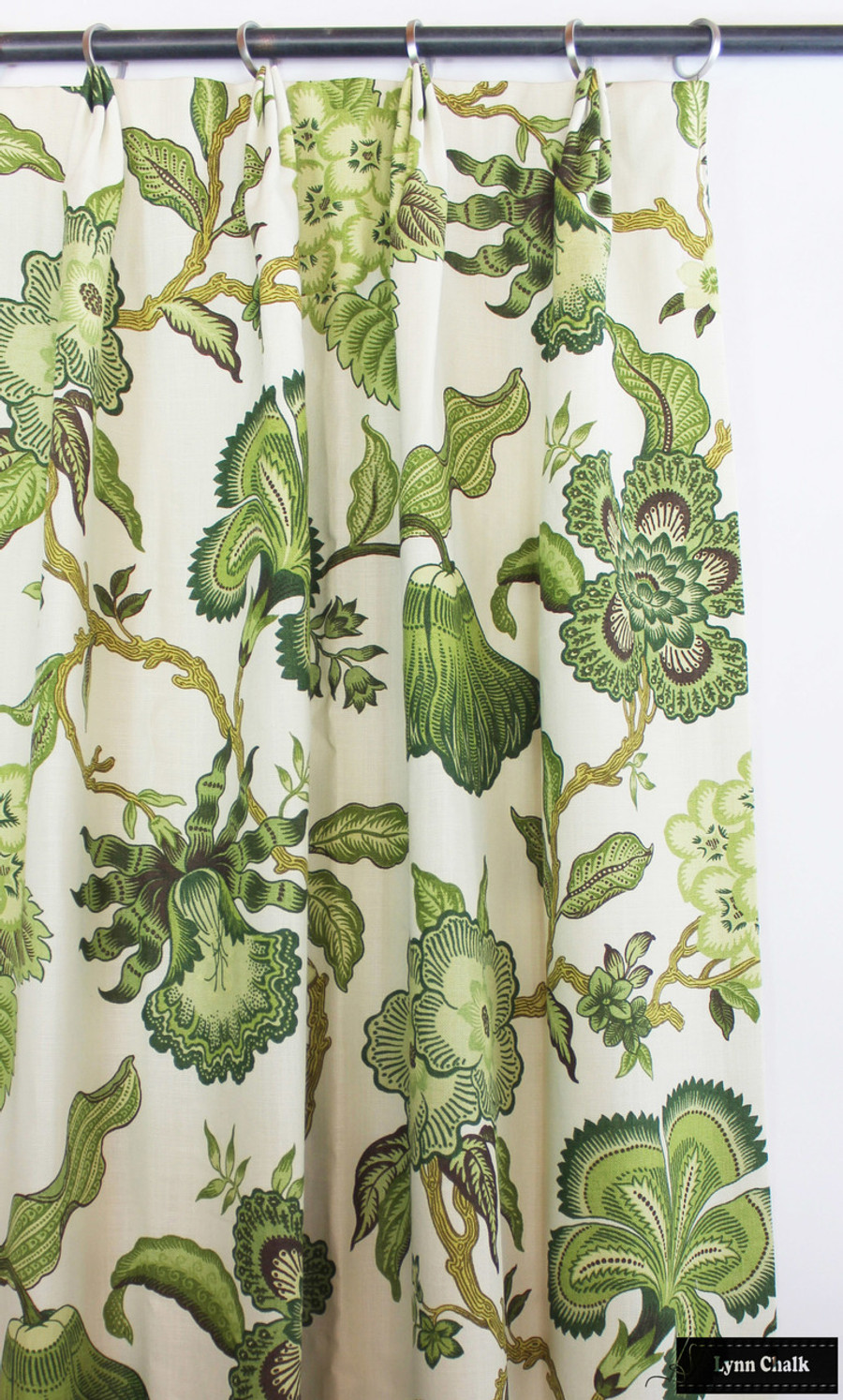 Schumacher Celerie Kemble Hothouse Flowers Custom Drapes (shown in Verdance-comes in other Colors)