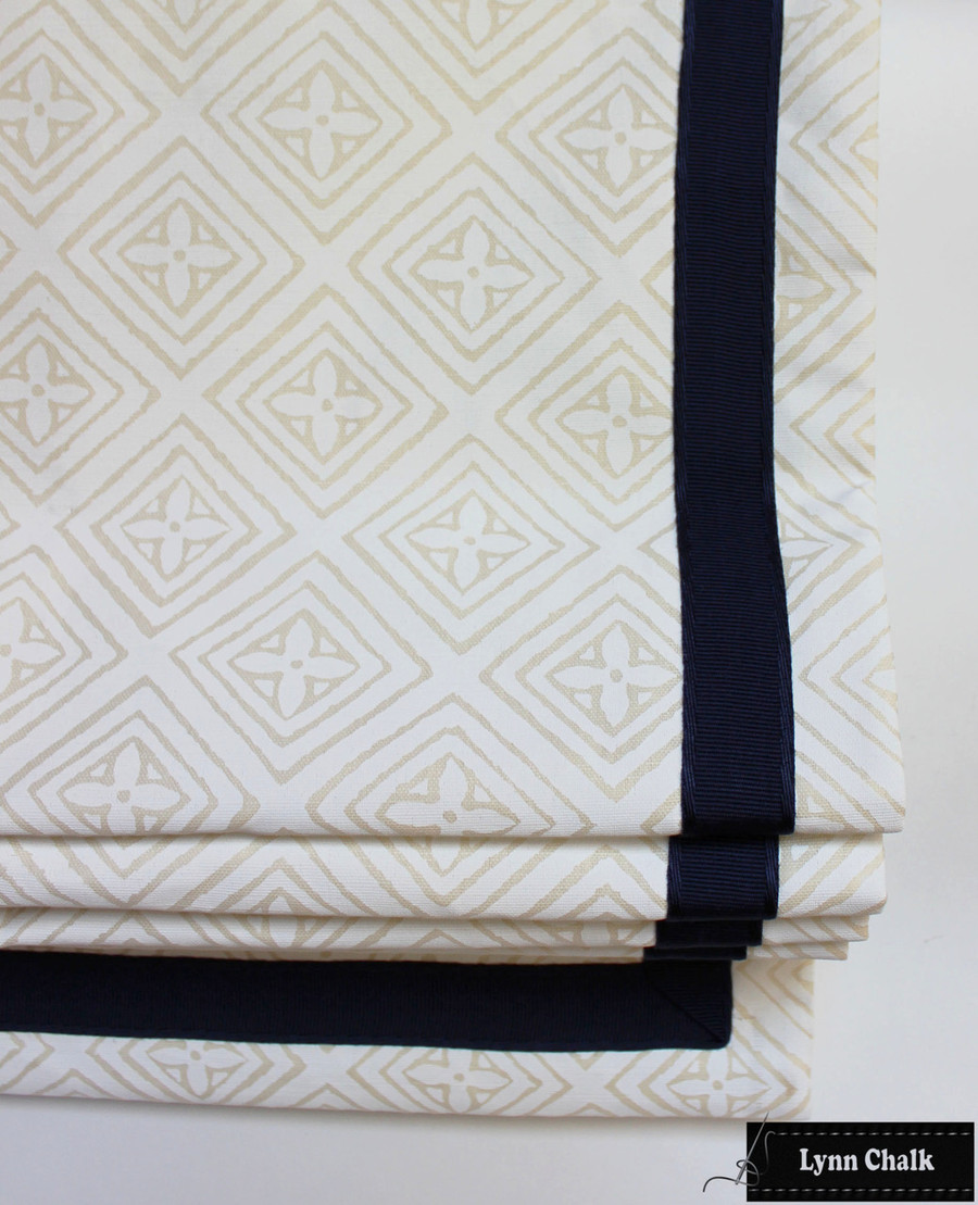 Fiorentina Roman Shade - White on Tinted Linen 2490 01 with Samuel and Sons Sabine Border in Navy 977 56041 25
