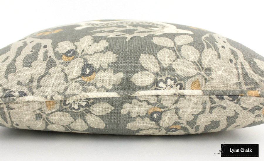 Kravet Lee Jofa Mille Fleur Silver Custom 22 X 22 Pillows with Self Welting (Both Sides-comes in 4 colors)