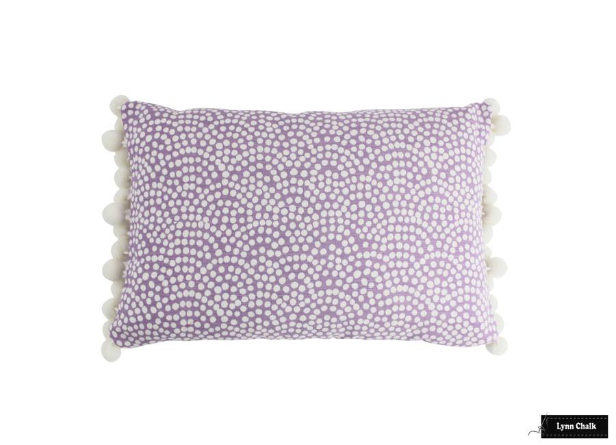 Quadrille Mojave One Color Reverse Lavender White Pillow with Samuel & Sons Dolce Pom Pom Trim