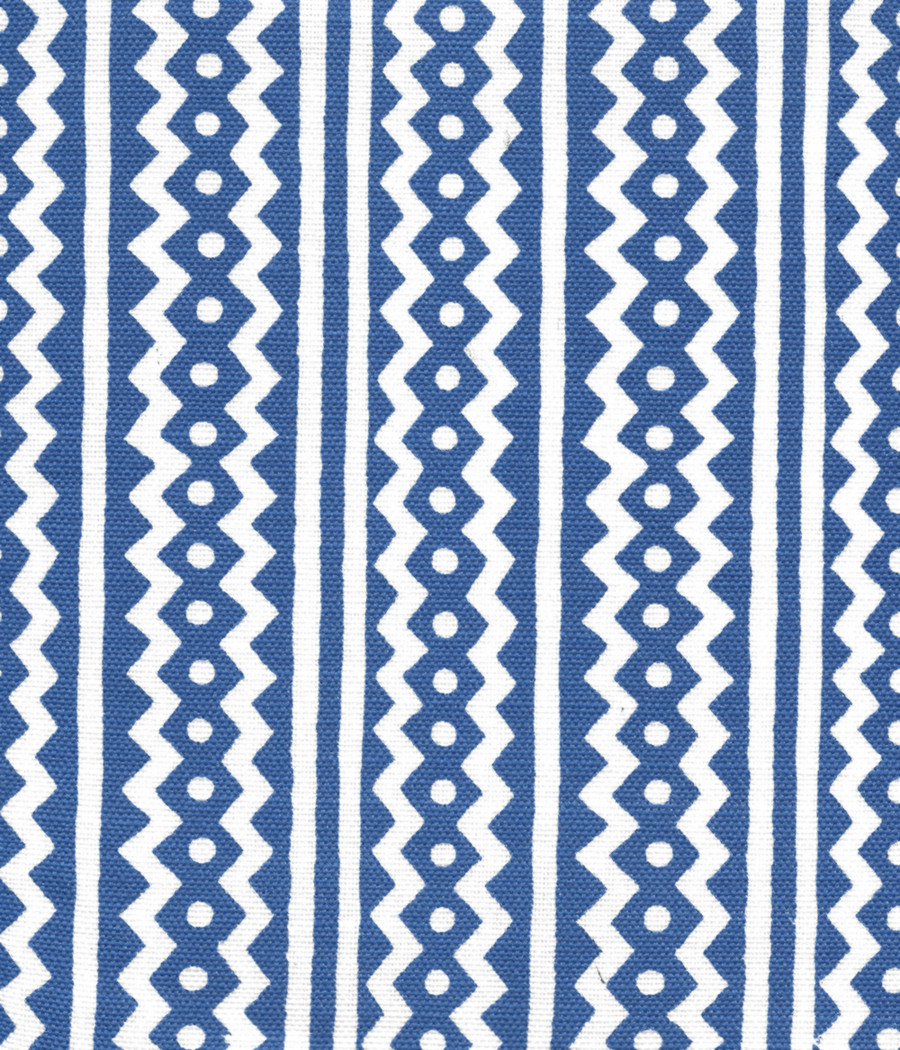 Quadrille Alan Campbell Ric Rac New Navy on White Linen Cotton AC935WH-08