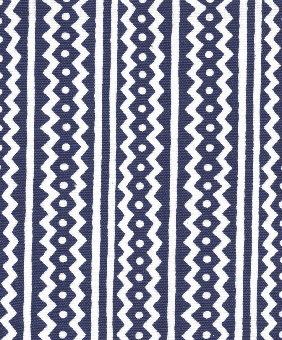 Quadrille Alan Campbell Ric Rac New Custom Indigo On White Linen Cotton AC935WH-CSTI