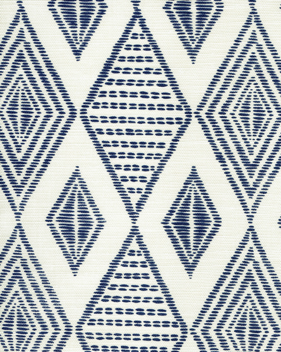 Quadrille Alan Campbell Safari Embroidery New Navy on Tint AC850-09