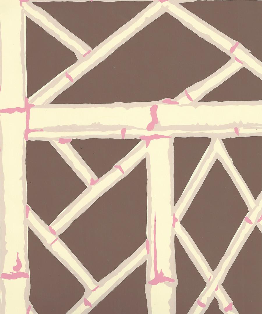 Quadrille Lyford Trellis Brown Beige Taupe Pink 6020W-05