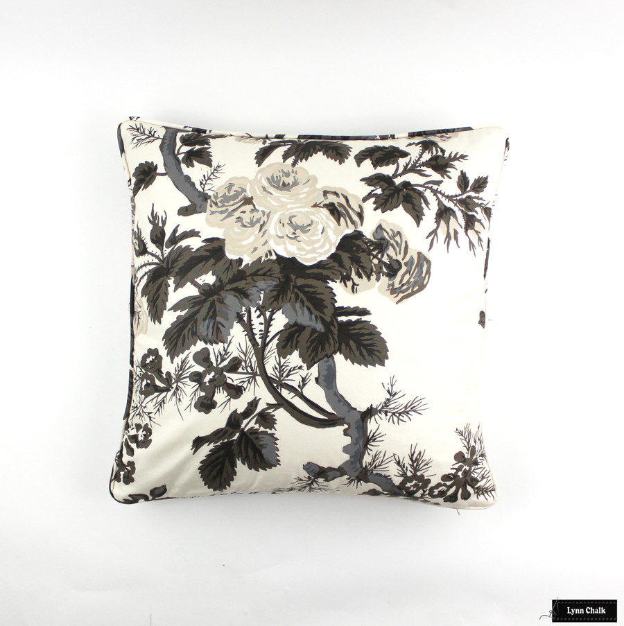 50% Off Schumacher Pyne Hollyhock Pillow in Charcoal with Self Welting (18 X 18 - Front Only) Made To Order