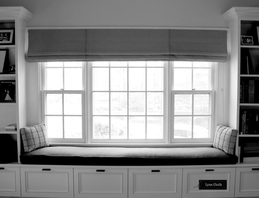 Window Seat Roman Shades in Larsen Danville Smoke.  Cushion in Maharam Monks Wool.   Pillows in Pierre Frey Cube Cendre by Lynn Chalk. (Designed by Brian Numme)