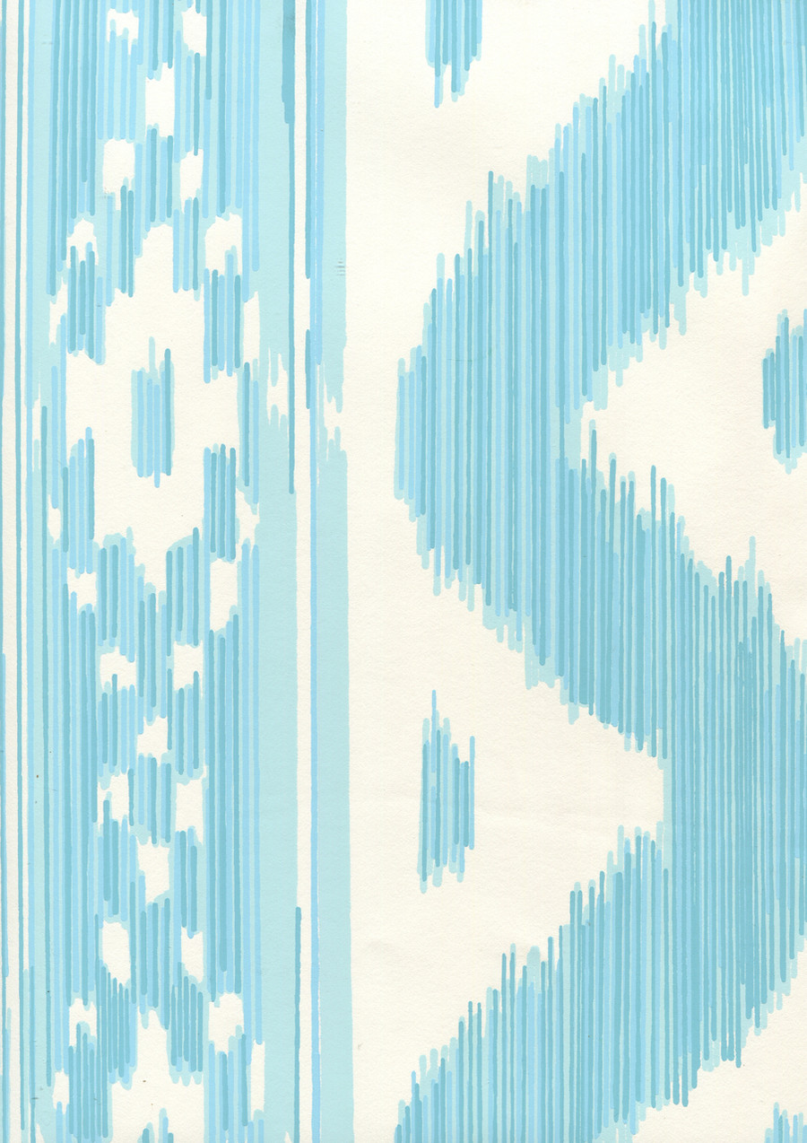 Quadrille China Seas Bali Hai Wallpaper Turquoise on Almost White 2020-04AWP