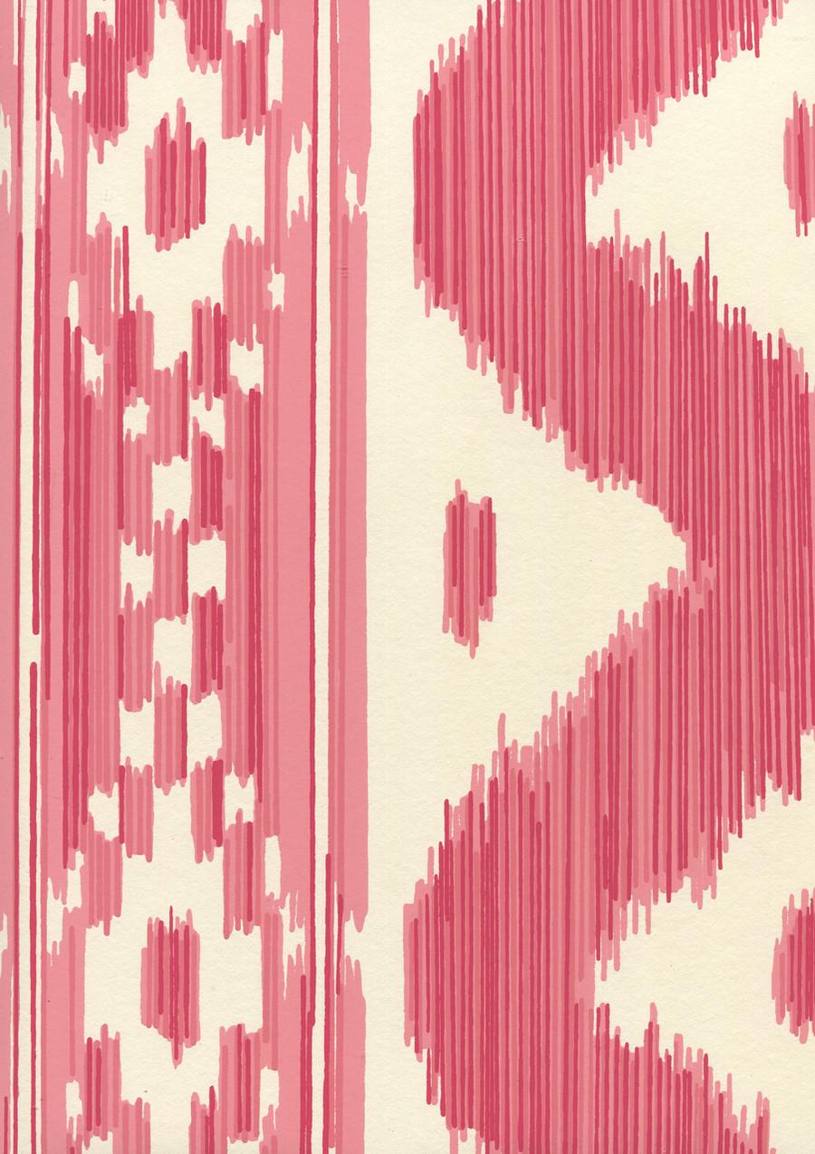Quadrille China Seas Bali Hai Wallpaper Reds on Off White 2020-06OWP