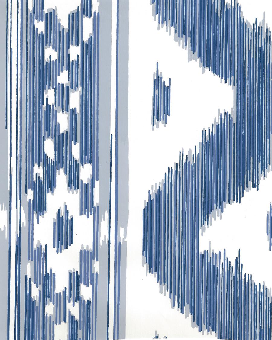 Quadrille China Seas Bali Hai Wallpaper Multi Blues on Almost White 2020-01AWP