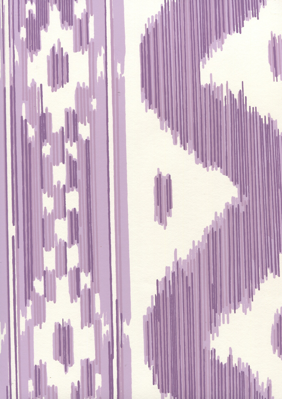 Quadrille China Seas Bali Hai Wallpaper Purple on Almost White 2020-05AWP