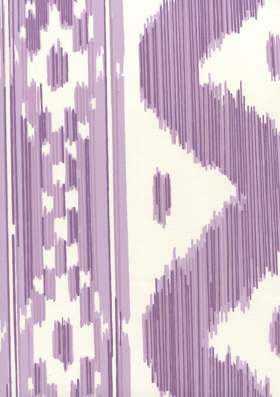 Quadrille China Seas Bali Hai Wallpaper Purple on Almost White 2020-05AWP