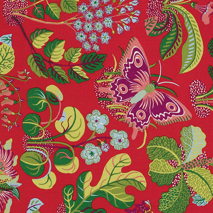 Schumacher Fabric Exotic Butterfly in Red 176180