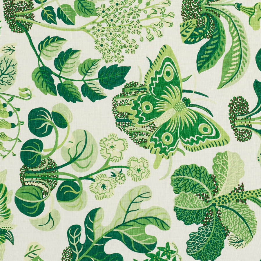 Schumacher Fabric Exotic Butterfly in Leaf 176185