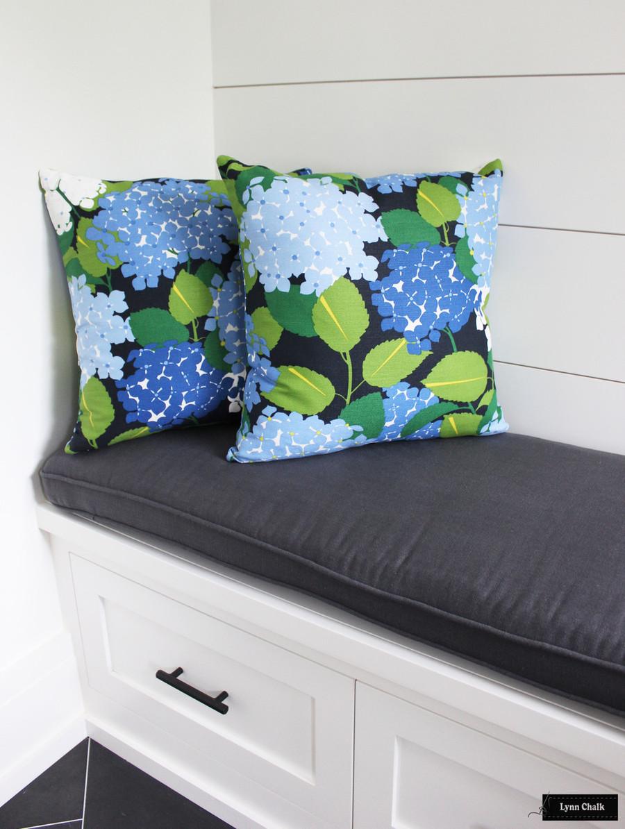 Schumacher Hydrangea in Document Custom Pillows - 2 Pillow Minimum Order