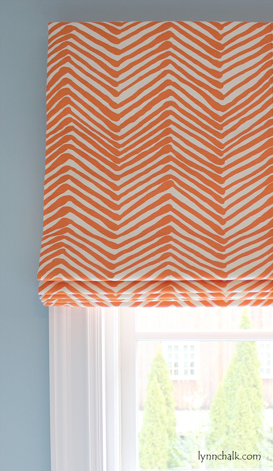 Roman Shade in larger scale Zig Zag in Orange