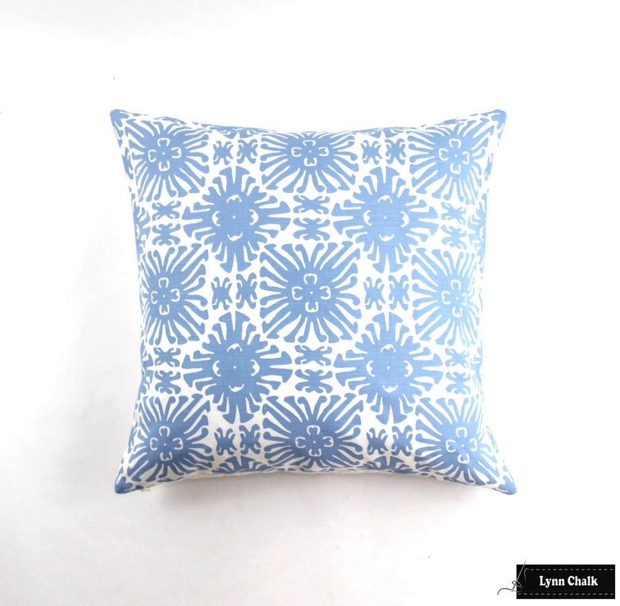 Quadrille Sigourney French Blue on White Pillow (26 X 26)
