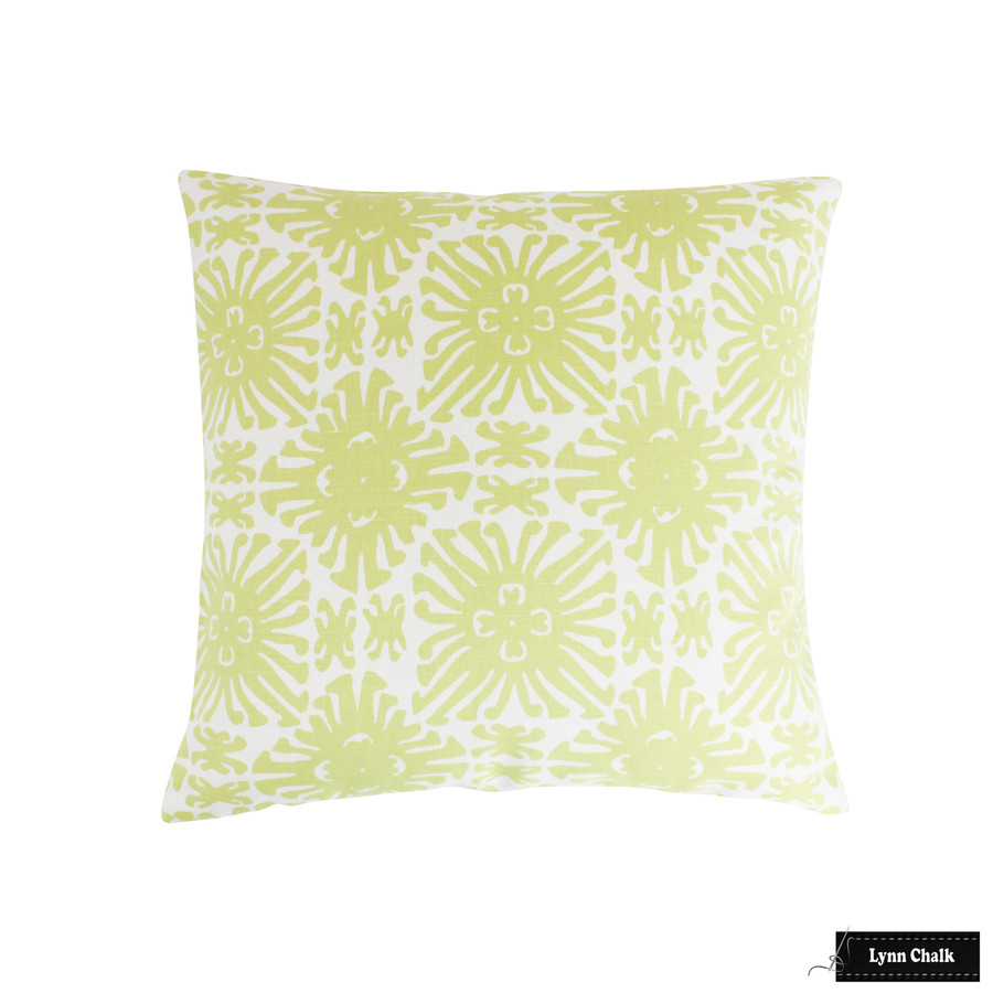 Quadrille Sigourney Small Scale Chartreuse on White 2475-11 Pillow (22 X 22 )