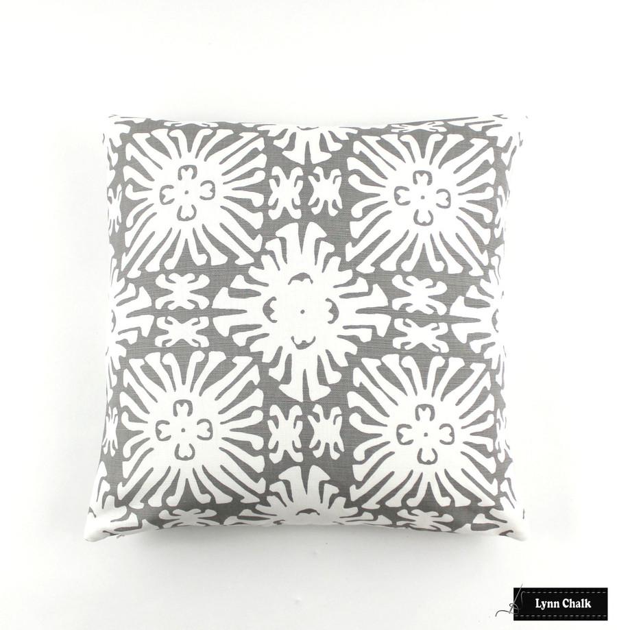 Quadrille Sigourney Reverse Grey on White Small Scale Pillow 18 X 18