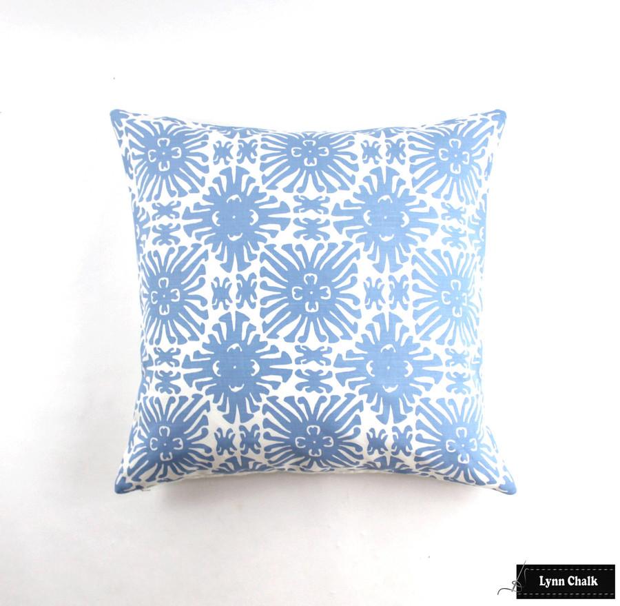 Quadrille Sigourney French Blue on White Pillow (26 X 26)