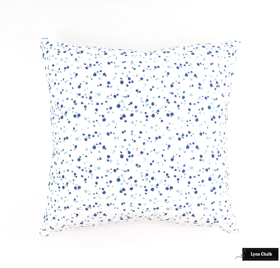 ON SALE 50% Off- Schumacher Lulu DK Embroidered Skittles in Blueberry/Sky 16 X 16 Pillow (Both Sides)