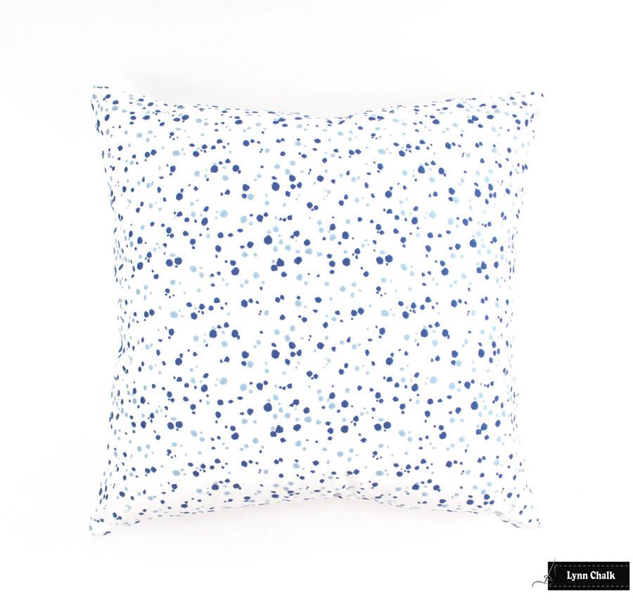 Schumacher Lulu DK Skittles Custom Pillows in Blueberry Sky with Navy Welting (2 Pillow Minimum Order)