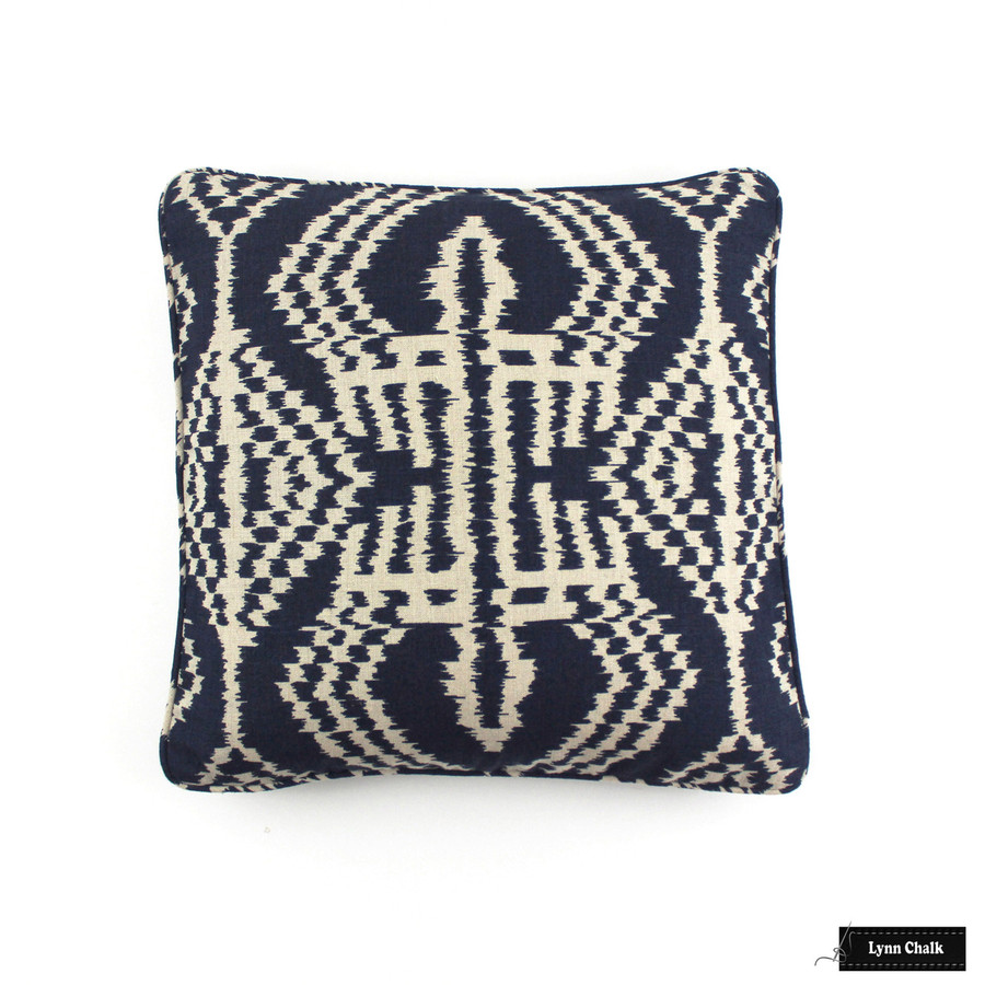 Pillow in Schumacher Asaka Ikat Indigo