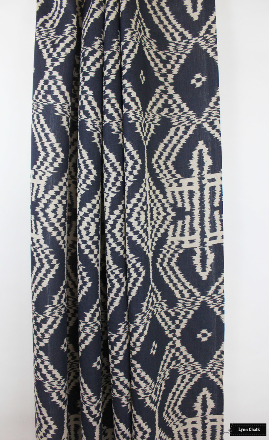 Curtain in Schumacher Asaka Ikat Indigo