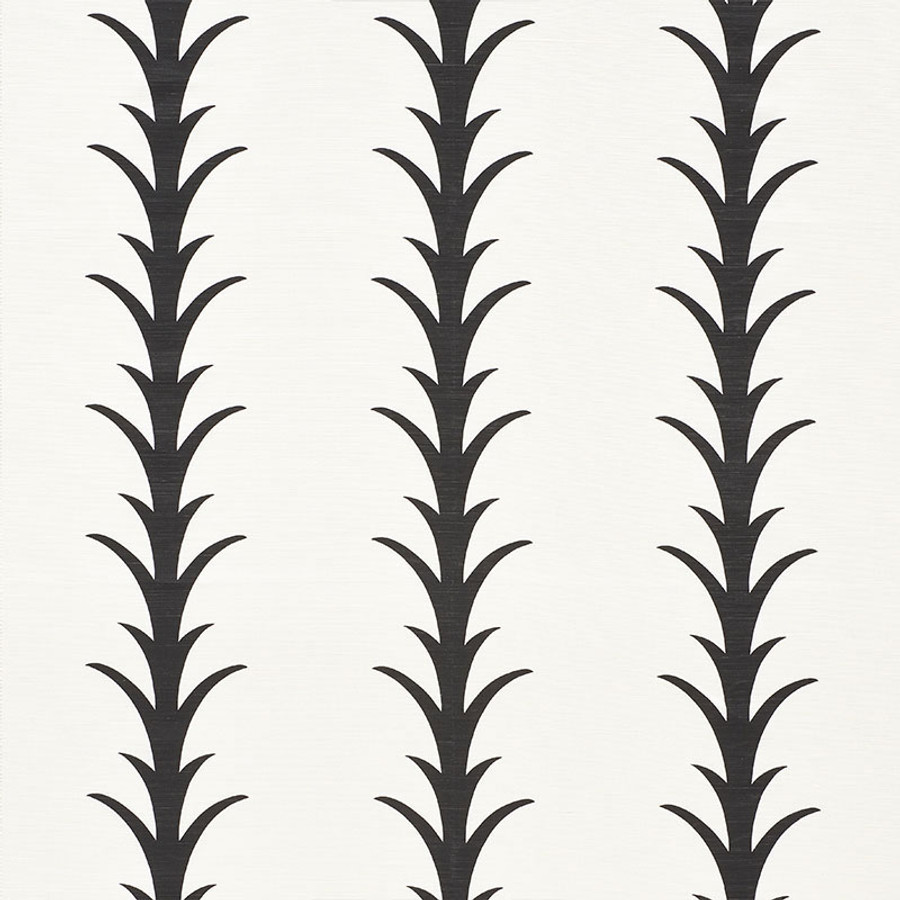 Schumacher Fabric Acanthus Stripe Carbon 177632