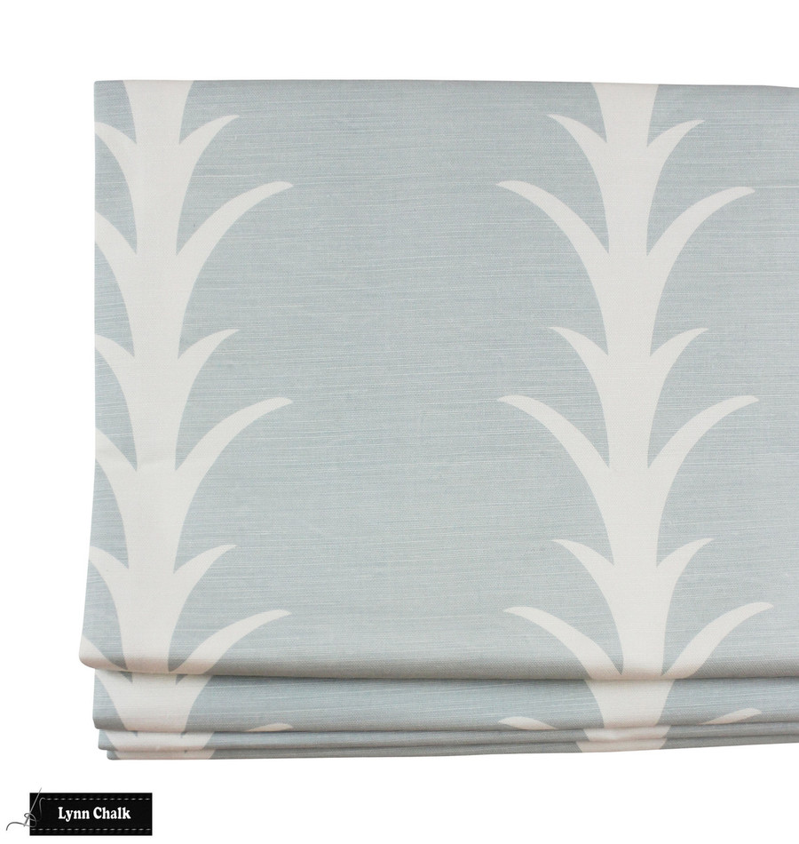 Curtain in Schumacher Acanthus Stripe Sky 177633