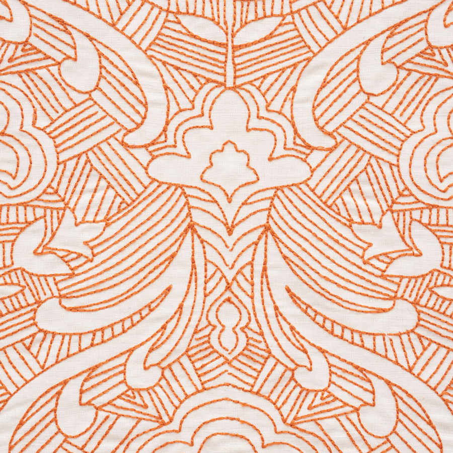 Schumacher Hendrix Embroidery in Orange 76161