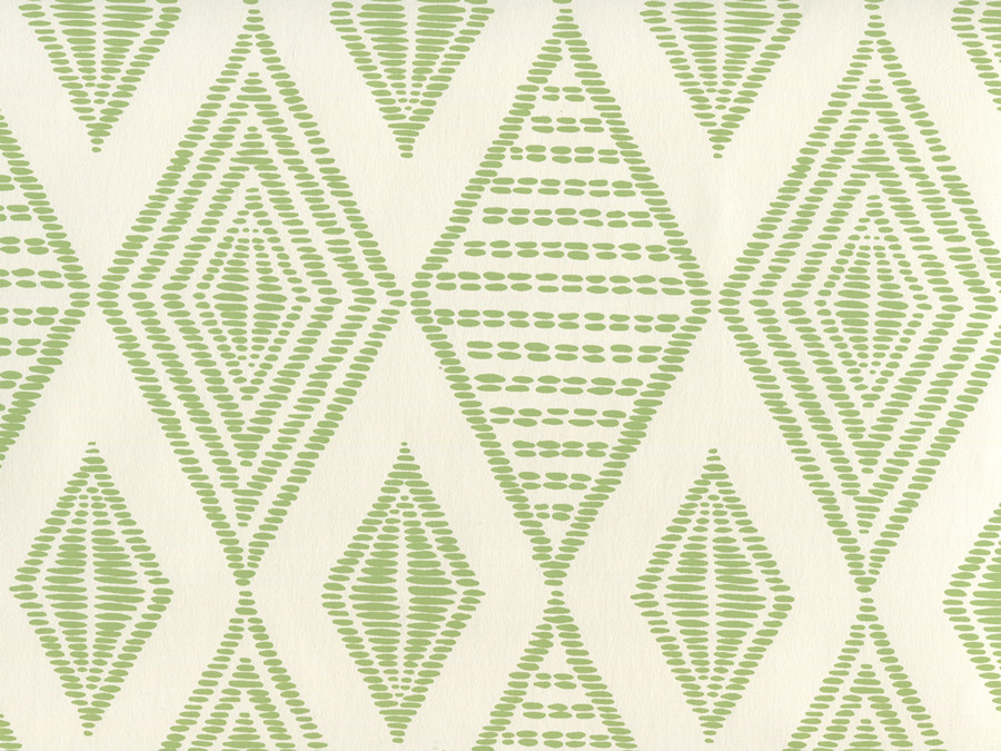 Quadrille Wallpaper Safari Embroidery Jungle Green on Almost White AP850-06
