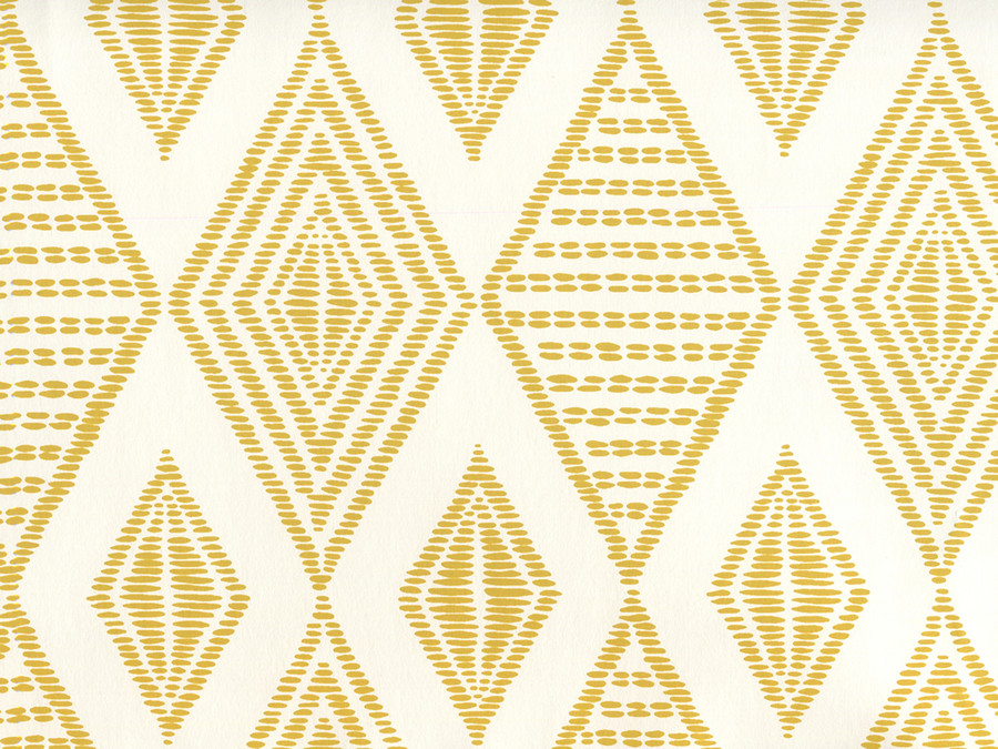 Quadrille Wallpaper Safari Embroidery Inca Gold on Almost White AP850-12