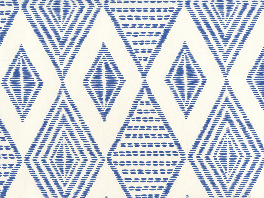 Quadrille Wallpaper Safari Embroidery New Navy on Almost White AP850-09
