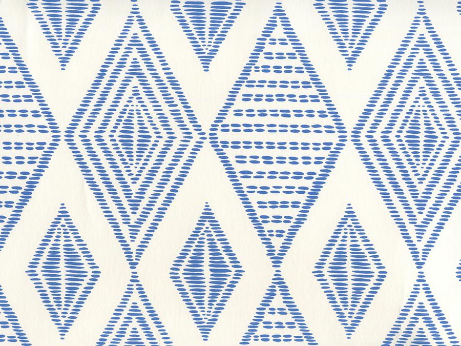 Quadrille Wallpaper Safari Embroidery Royal Blue on Almost White AP850-13