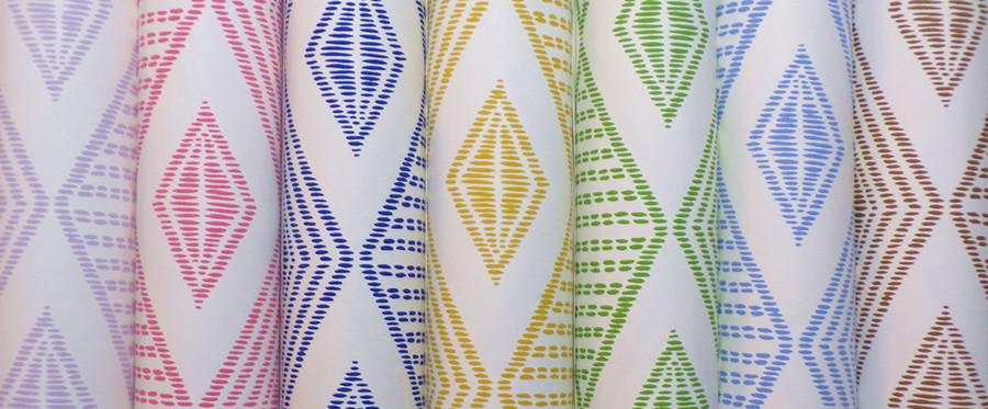 Quadrille Safari Embroidery Wallpaper French Blue on Almost White AP850-05