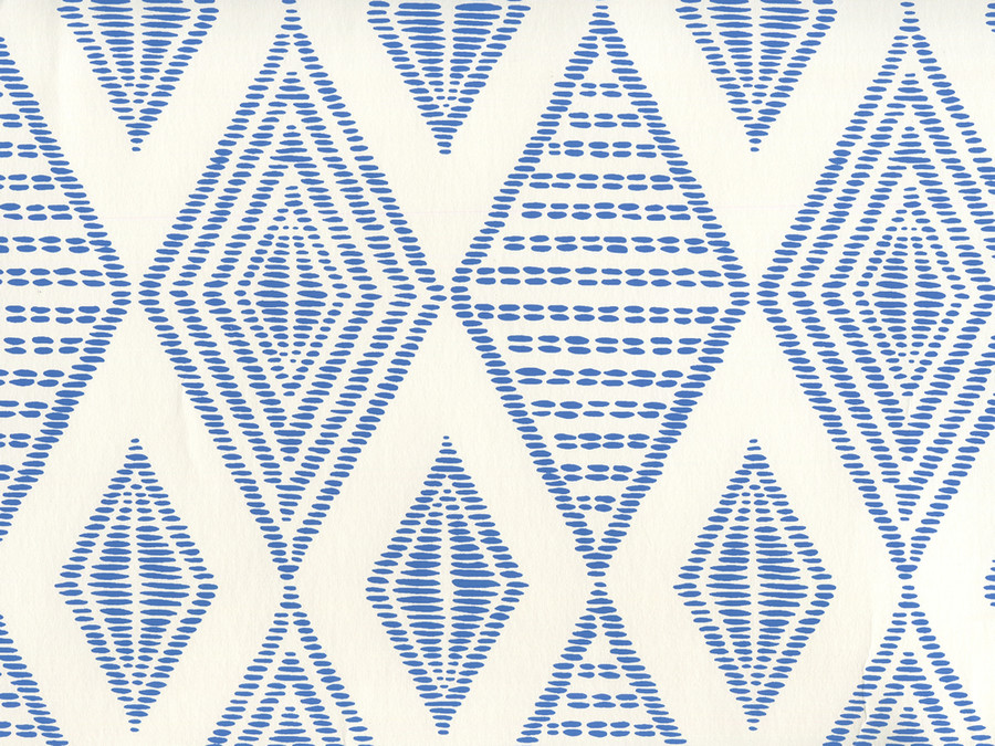 Quadrille Wallpaper Safari Embroidery Royal Blue on Almost White AP850-13