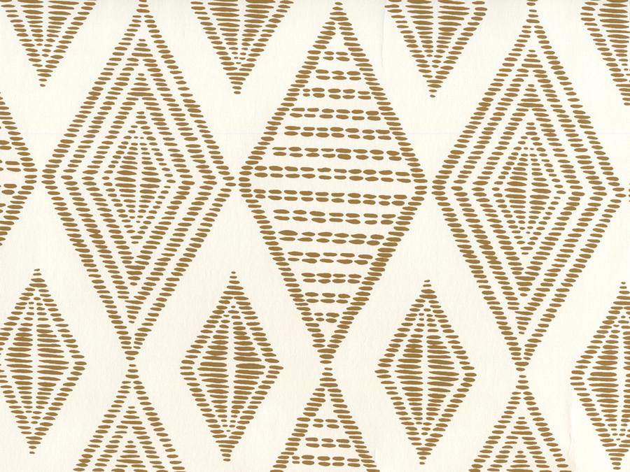 Quadrille Wallpaper Safari Embroidery Caramel on Almost White AP850-14