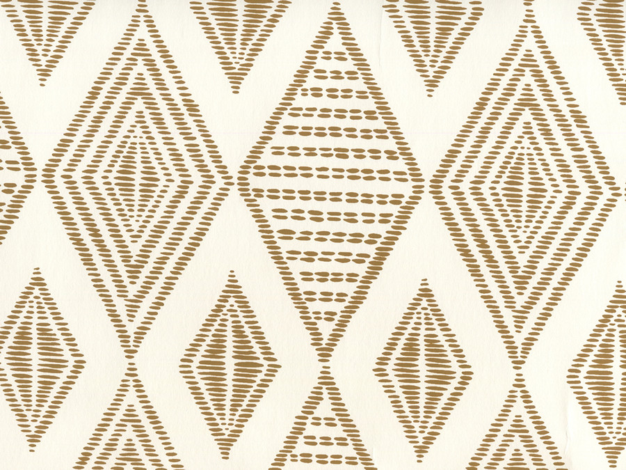 Quadrille Wallpaper Safari Embroidery Caramel on Almost White AP850-14