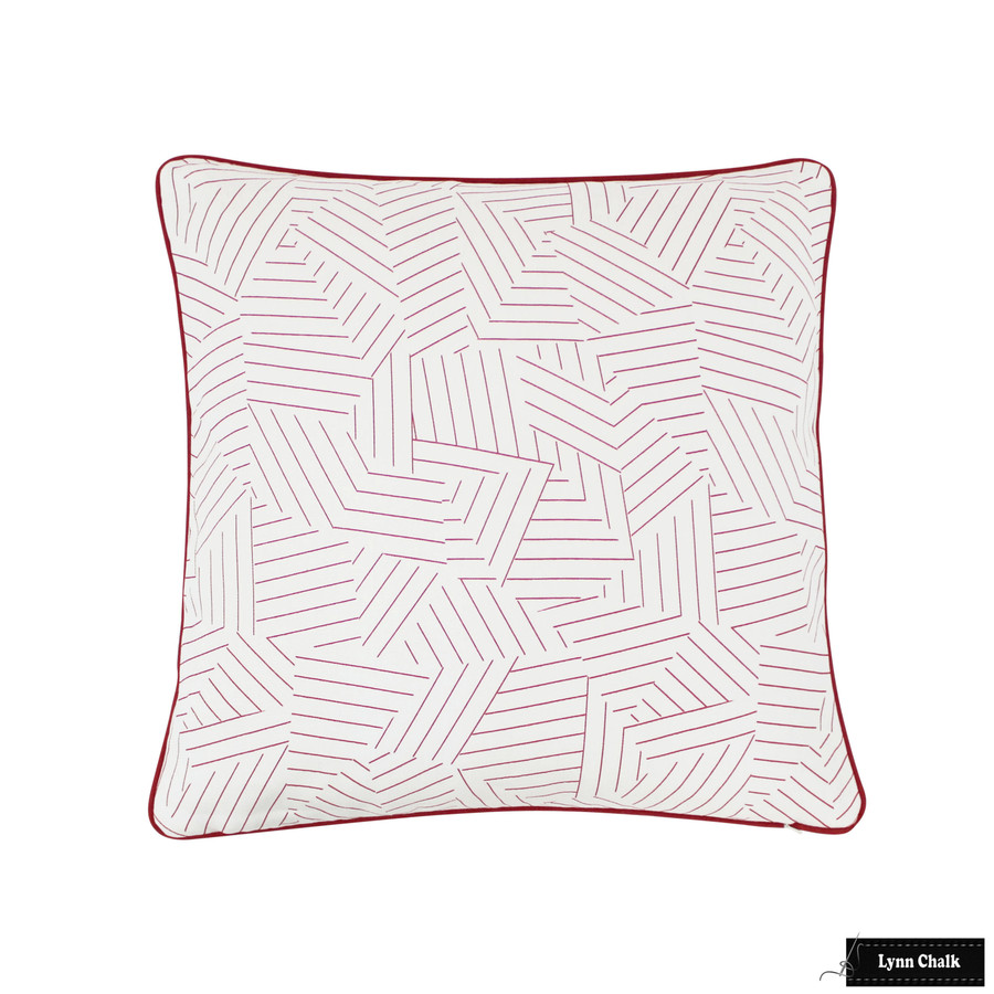 Custom Pillow in Deconstructed Stripe Red with Red Welting